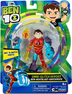 Ben 10 Omni-Glitch Heroes Ben - Heatblast - Shockrock Action Figure