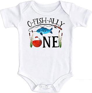 Olive Loves Apple O-Fish-Ally One body dla małych chłopców wędkarstwo tematyczne strój na pierwsze urodziny