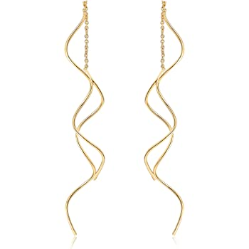 Acefeel Fresh Style Exquisite Threader Dangle Earrings Curve Twist Shape for Women's Gift E158