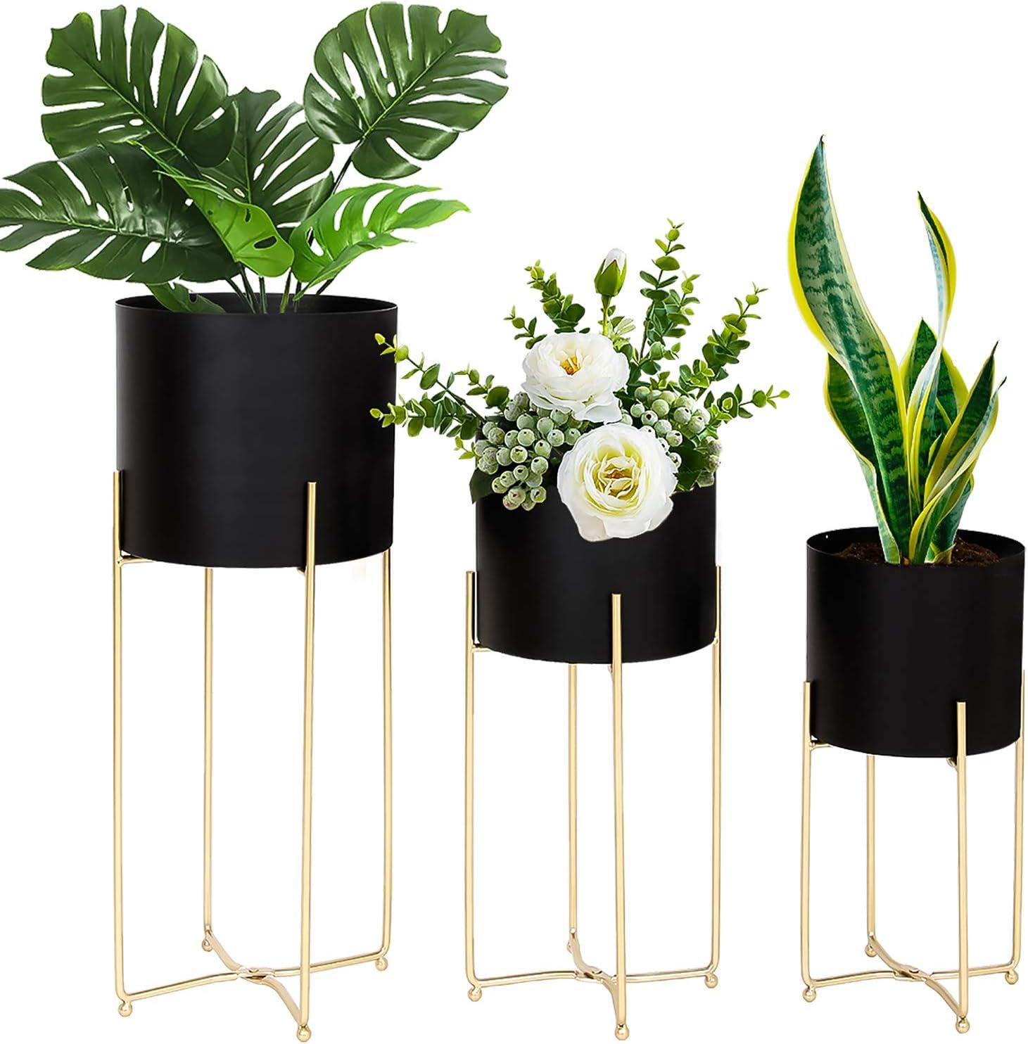 LANPU Modern Planter Stand Inexpensive with trend rank Pot Mid Century Plan Tall Black