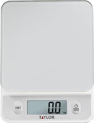 Taylor Precision Products - Báscula de vidrio con botones de control táctil, Plateado, Capacidad para 5 kg, 1