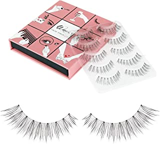 Fake Eyelashes WENIDA 5 Pairs 100% Handmade Long Soft Reusable, Natural look False Eyelashes