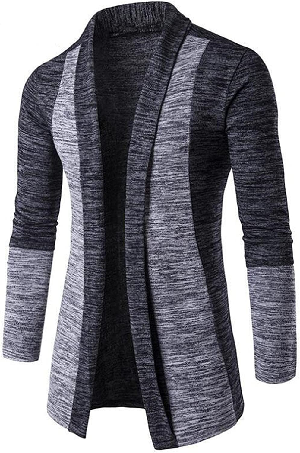 Burband Mens Lightweight Open Front Ruffle Shawl Collar Cardigan Sweaters Cotton Long Houndstooth Slim Fit Drape Cape