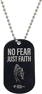 Elite Athletic Gear NO Fear JUST Faith Dog Tag Necklace Black Dyed Stainless Steel Pendant