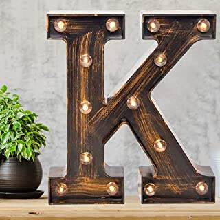 Pooqla Vintage Light Up Marquee Letters with Lights – Illuminated Industrial Style Lighted Alphabet Letter Signs - Coffee ...