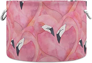 Okrągły kosz do przechowywania różowy akwarela flaming wzór składany wodoodporny kosz na pranie pokój dziecięcy kosz organ...
