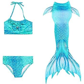 ShiyiUP Costume da Bagno Allacciato al Collo 3 Pezzi con Coda a Sirena Set Bikini da Ragazza