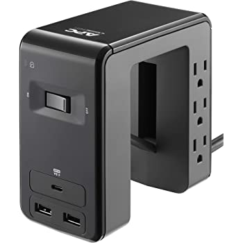 APC Desk Mount Power Station PE6U21, U-Shaped Surge Protector with USB Ports (3), Desk Clamp, 6 Outlet, 1080 Joules