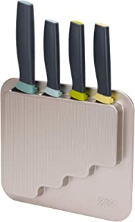 Joseph Joseph 10303 DoorStore Knives Elevate Set with Knife Block 3M Adhesive Wall and Cabinet Door Mount, 5-piece, Opal