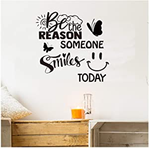 Summerjokes Be The Reason Someone Smiles Today Inspirational Quotes for Office Classroom Family Living Room Bedroom Teen Room Art Wall Sticker Decal Vinyl Decal