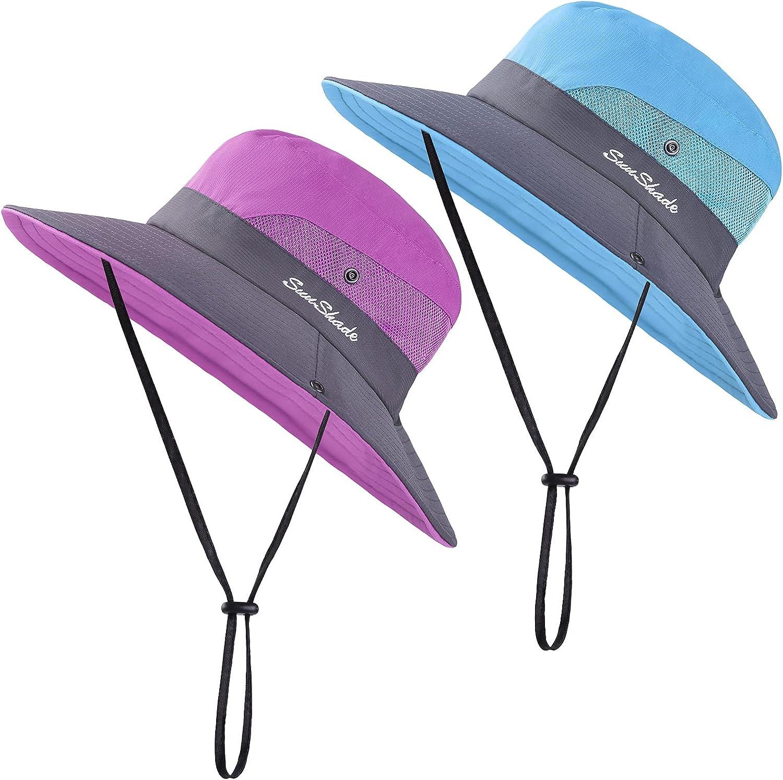 Cooraby Women Summer Sun Hat Ponytail Hole Cap Wide Brim Adjustable Hat