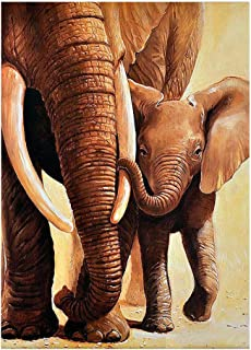 ufengke Wild Elephants 5D Diamond Painting Kits by Numbers Full Drill Diamond Embroidery Cross Stitch Mosaic Making, 25 35cm Design