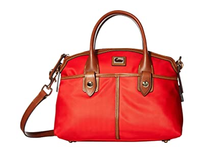 Dooney & Bourke Camden Domed Satchel (Red/Dark Chocolate Trim) Satchel Handbags