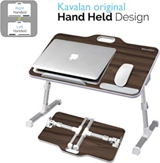 Kavalan Right & Left Handed Design Portable Laptop Table with Handle, Height & Angle Adjustable Sit and Stand Desk, Bed Table Tray, Foldable Laptop Stand Holder for Sofa Couch – Black Teak