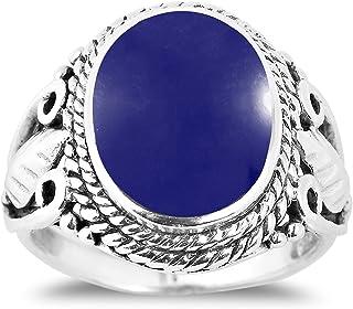 خاتم من الفضة الإسترلينية 925 بتصميم دائري عتيق مستوحى من زهرة اللابيس الزرقاء المقلّمة