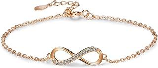 925 Sterling Silver Infinity Love Bracelet for Women Girls Infinity Endless Love Symbol Charm Adjustable Bracelet