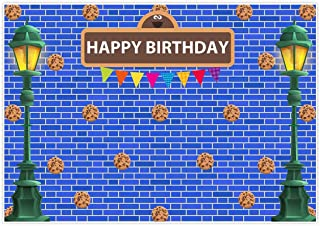 Allenjoy 7x5ft Blue Brick Wall Street Backdrop Cookie Rain Cartoon Photography Prince Boy Kid First 1st Themed Birthday Party Decoration Supplies Baby Shower Favors Decor Banner Booth Photoshoot Props