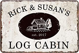 Pattern Pop Personalized Vintage Distressed Look Log Cabin Metal Room Sign