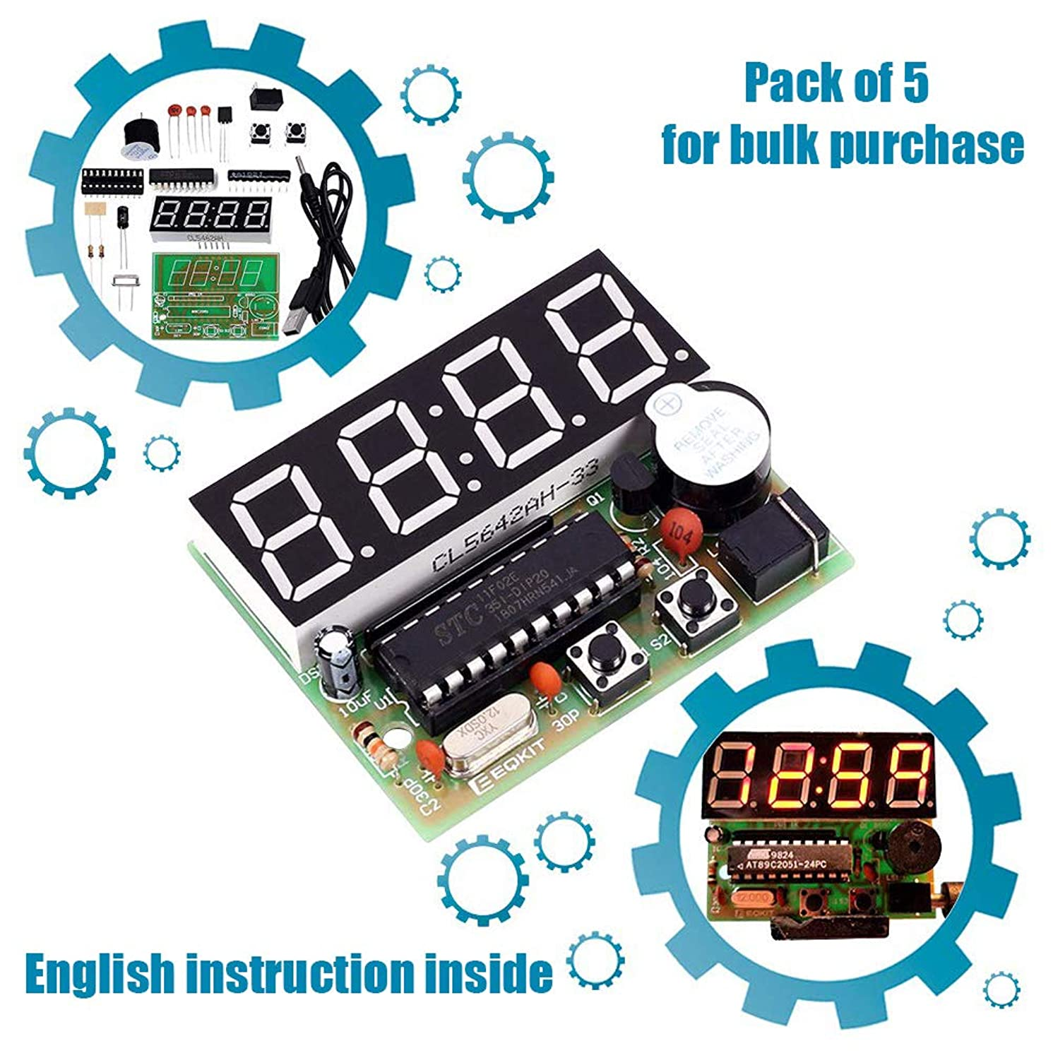 IS ICStation 4Bits Digital Clock DIY Electronic Assemble Soldering Kit AT89C2051 FR-4 PCB Board Solder Tool (Pack of 5)