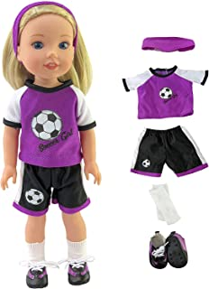 American Fashion World Purple Soccer 5pc Outfit Made for 14 inch Dolls Such as Wellie Wishers