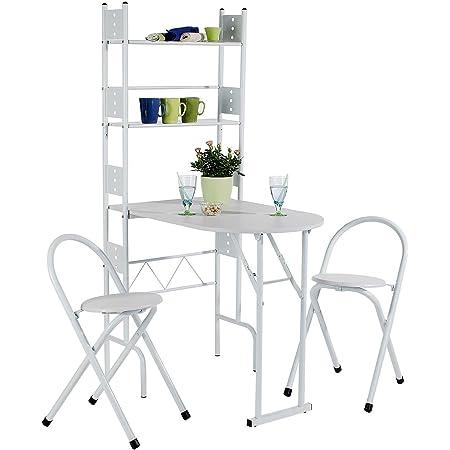 IDIMEX Ensemble Jonathan avec Table de Cuisine comptoir Pliable avec 2 étagères et 2 chaises/tabourets avec Dossier, Table et Assise en MDF Blanc et Structure en métal Blanc
