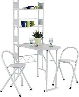 IDIMEX Ensemble Jonathan avec Table de Cuisine comptoir Pliable avec 2 étagères et 2 chaises/tabourets avec Dossier, Table...