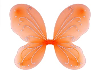 Dushi Girls Butterfly Craze Fairy Wings for Fairy Costumes Party Favor Orange