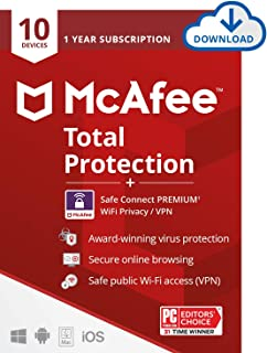 McAfee Total Protection with Safe Connect VPN 2021 , 10 Device, Antivirus Internet Security Software, VPN, Password Manage...
