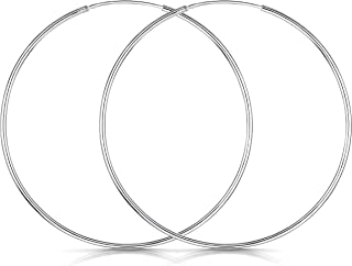 925 Plata De Ley Pendiente De Aro Fino Con Pendientes De Aro Sin Fin – Pendientes De Aro Tipo Criolla – Diámetro: 20 30 40 60 80 mm