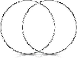 Amberta® 925 Sterling Silber Edle Ringe Mit Geschlossener Ring – Kleine Runde Kreolen Ohrringe - Durchmesser: 20 30 40 60 80 mm