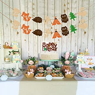 Eccoo House 10 Pack Woodland Creatures Banner Set Forest Animal Friends Felt Garland Cupcake Toppers Happy Birthday Cake topper For Baby Shower Birthday Party
