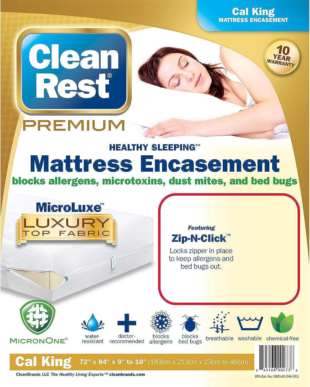 Clean Rest Premium Water-Resistant, Allergy and Bed Bug Blocking Mattress Encasement, California King