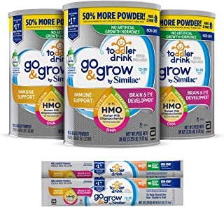 Go & Grow by Similac Toddler Drink, 3 Cans, with 2'-FL HMO for Immune Support and 25 Key Nutrients to Help Balance Toddler Nutrition, Non-GMO Milk-Based Powder, 36 oz Each + 2 On-The-Go Stickpacks