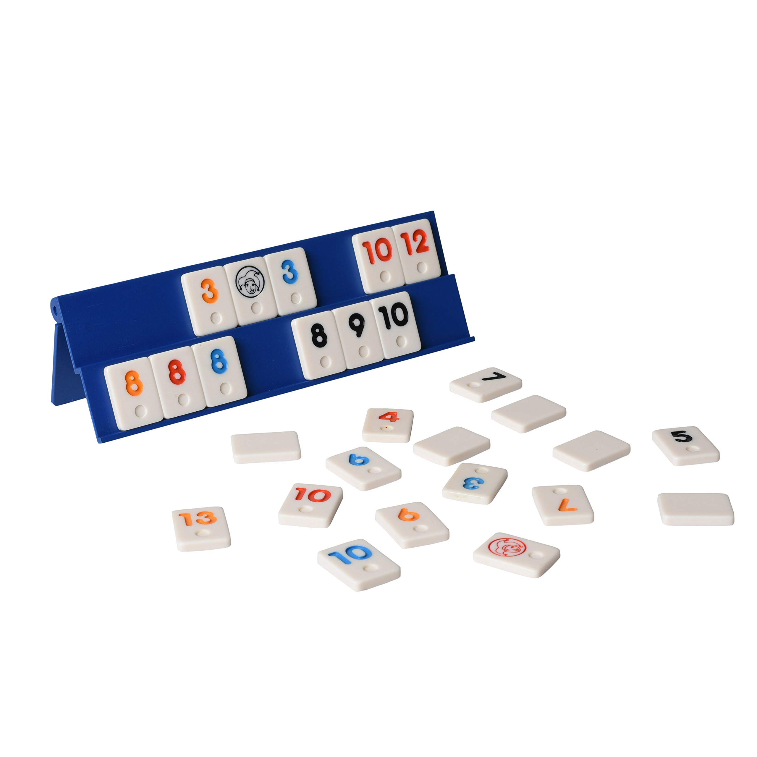 Point Games Mini Travel Rummy con 106 fichas y cuatro racks de juego exclusivos de 2 niveles en una bolsa de viaje súper duradera, color blue & white (2042) , color/modelo surtido:
