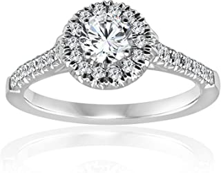 Diamond Engagement Ring 14K In White Gold 1/2 Ct