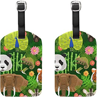 MASSIKOA Animals Panda Peacock Tiger Elepant Parrot Cruise Luggage Tags Suitcase Labels Bag,2 Pack