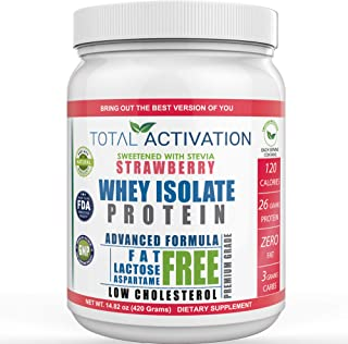 Sponsored Ad - Lactose Free 100% Whey Isolate Low Carb Protein Powder Under 1 Gram Sugar Strawberry Protein Powder for Wom...