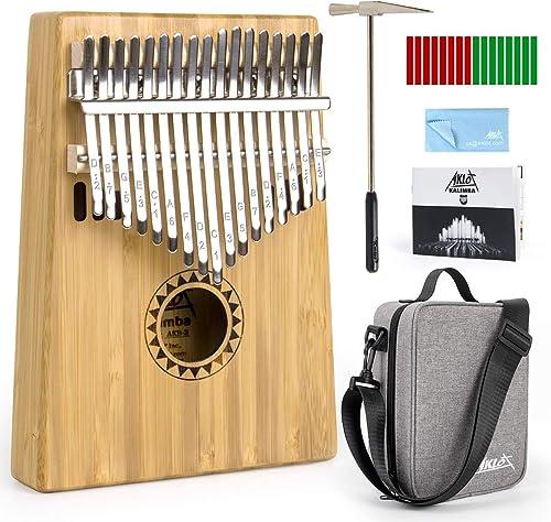 AKLOT Kalimba 17 Teclas Pulgar Piano Marimbas Madera Maciza de bambú Instrumento africano Mbira Profesional Finger Pi...