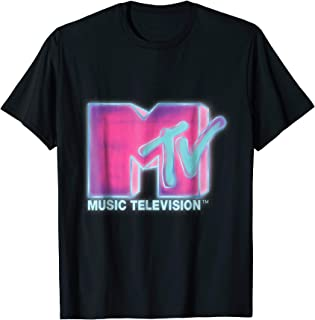 Classic MTV Pink And Blue Neon Logo T- Shirts