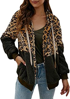 Women's Leopard Hooded Jacket Long Sleeve Plush Jacket Winter Coat Leopard Patchwork Zip Hoodie for Autumn Winter