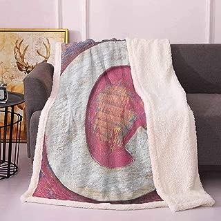 Letter Q Couch Throw Blanket Shabby Uppercase Letter Q Alphabet Artwork Wooden Symbol Design Print Dog Blankets Pink Violet Blue White 50