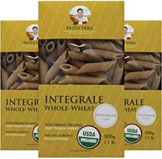 Pasta Vera Organic Whole Wheat Penne Rigate (1.1 lb) Imported from Italy | Organic | 100% Italian Durum Wheat Semolina | Bronze Extruded | All Natural (3-PACK)