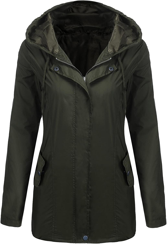 Meaneor Women's Lightweight Raincoat Hooded Waterproof Rain Jacket