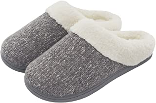 Women's Cozy Memory Foam Knit Slippers, Ladies' Slip on Mules House Shoes with Indoor Outdoor Anti-Skid Rubber Sole