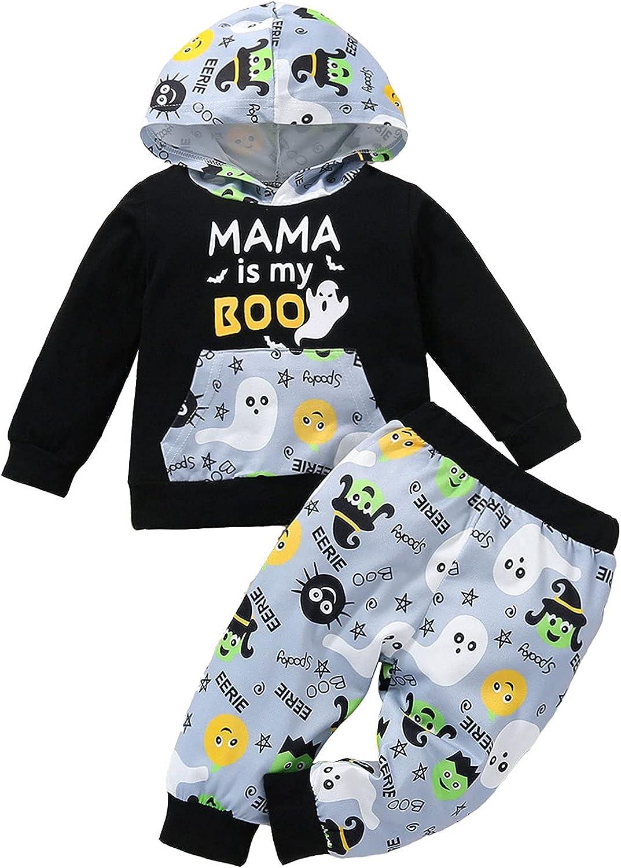 WMJJ Toddler Baby Boy Outfits Halloween Pumpkin Ghost Long Sleeve Hoodies Cotton Top +Trousers Autumn Winter Clothes 2 Pcs