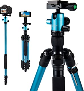 MACTREM Professional Camera Tripod DSLR Tripod for Travel, Super Lightweight and Reliable Stability, Ball Head Tripod Detachable Monopod with Phone Mount Carry Bag, 21.5
