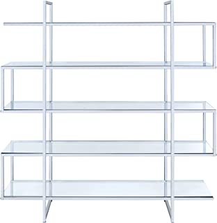 Coaster Home Furnishings Coaster Contemporary Silver Metal Bookcase with Clear Glass Shelves,