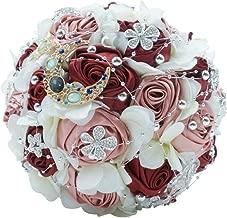 Abbie Home Silk Rose Wedding Bouquet Brooches Bridal Holding Flowers Rhinestone Décor (Burgundy+Silver)