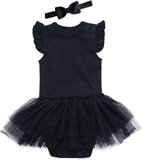 Black Baby Girls' Lace Dress Bodysuit with Headband
