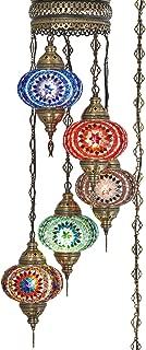 (10 Colors) Swag Plug in Light, Demmex 5 Big Globes Turkish Moroccan Mosaic Tiffany Swag Wall Plug in Ceiling Hanging Light Chandelier Lighting, 15feet Chain Cord North American Plug (Multi1)
